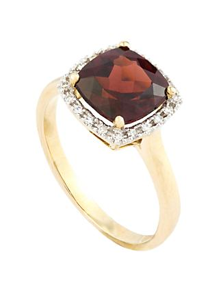 A B Davis 9ct Gold Cushion Cut Semi-Precious Stone and Diamond Ring, N