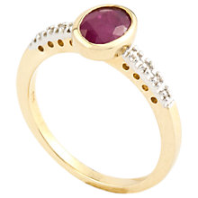 Buy A B Davis 9ct Gold Oval Rubover Diamond Shoulder Ring Online at johnlewis.com
