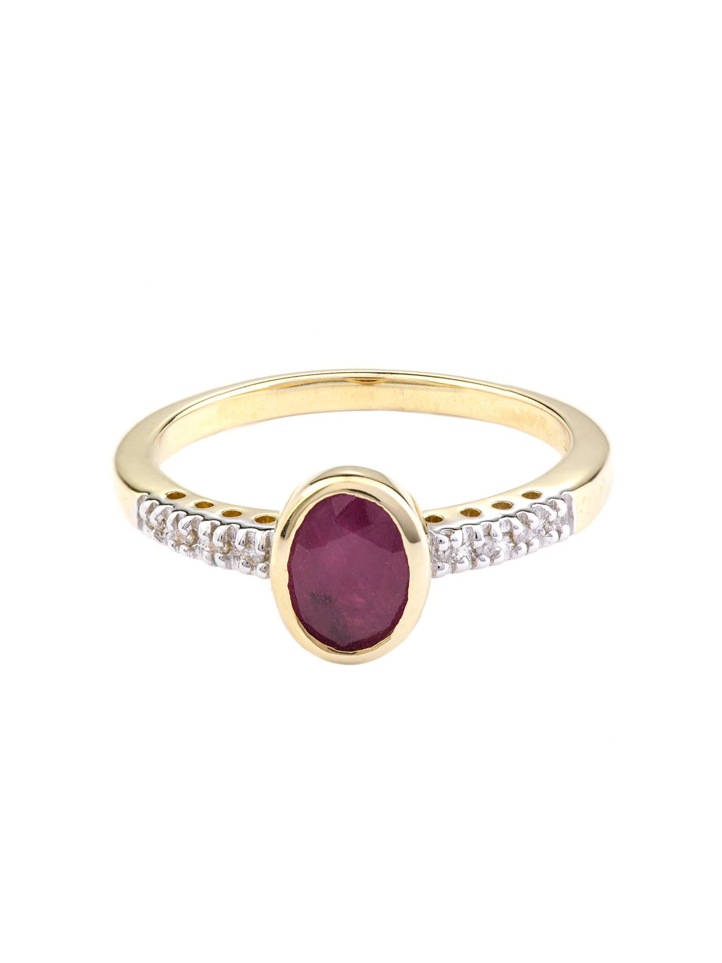BuyA B Davis 9ct Gold Oval Rubover Diamond Shoulder Ring, Ruby Online at johnlewis.com