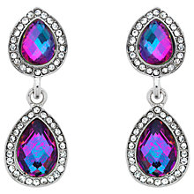 Buy Monet Double Glass Crystal Clip-On Drop Earrings, Silver/Lilac Online at johnlewis.com