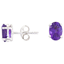 Buy A B Davis 9ct Gold Oval Stud Earrings, White Gold/Amethyst Online at johnlewis.com