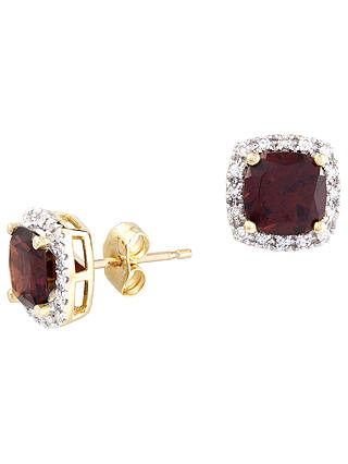 Buy A B Davis 9ct Gold Square Diamond Stud Earrings, Garnet Online at johnlewis.com