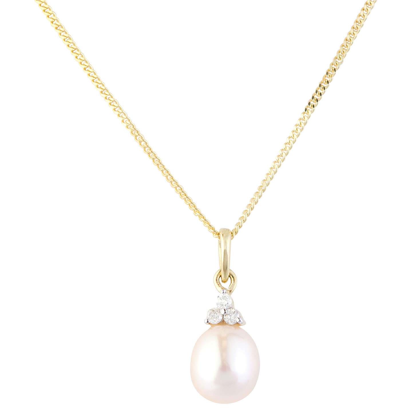 Ruby Wedding Gifts John Lewis: A B Davis 9ct Gold Diamond And Pearl Pendant Necklace