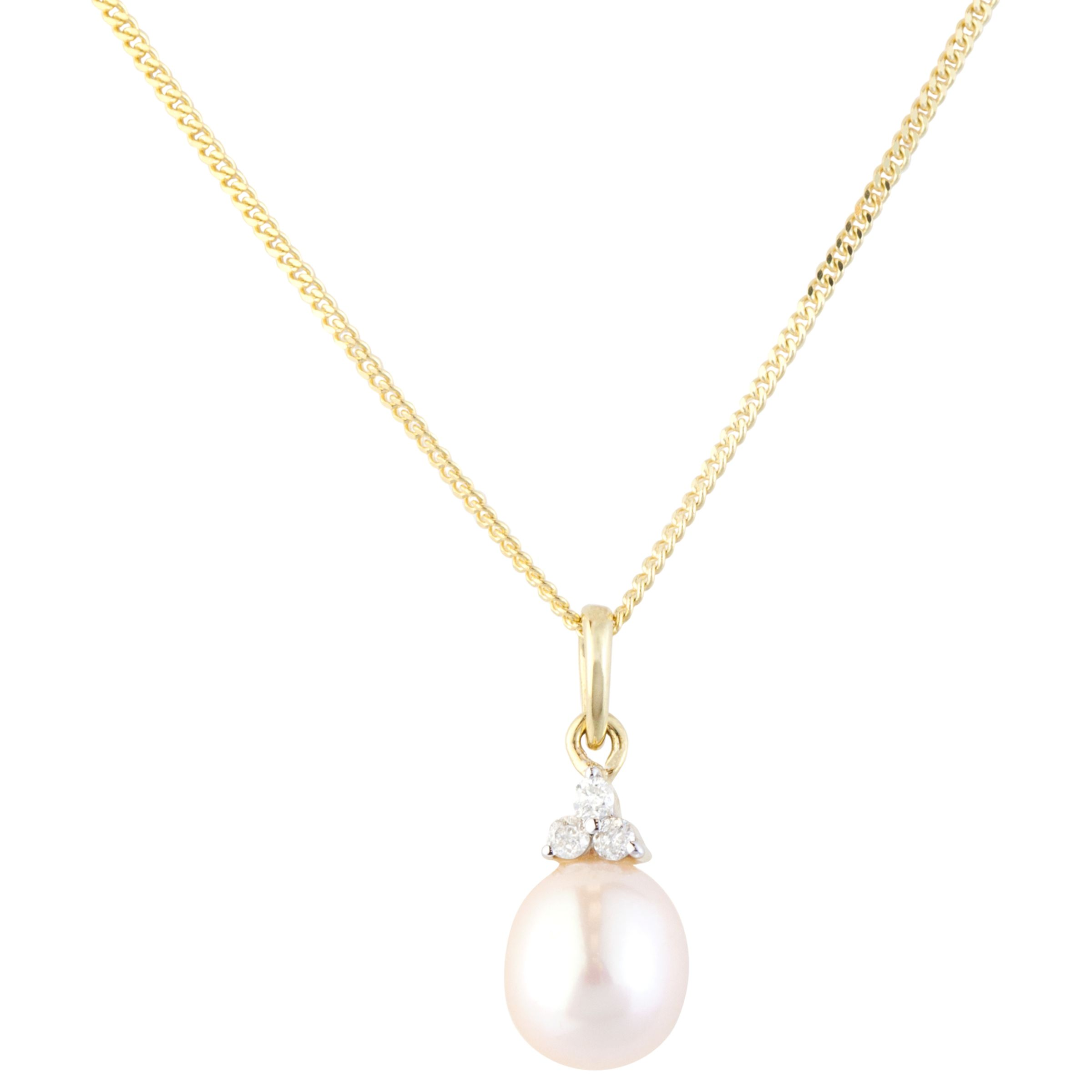 A B Davis A B Davis 9ct Gold Diamond and Pearl Pendant Necklace, Gold
