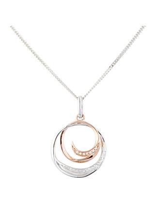A B Davis 9ct Mixed Gold Diamond Double Round Pendant Necklace