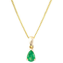 Buy A B Davis 9ct Gold Pear Pendant Necklace Online at johnlewis.com