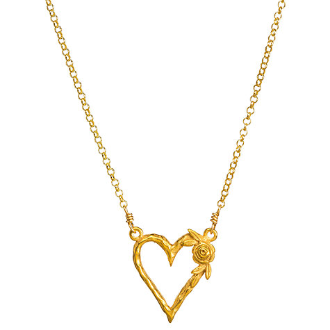 Buy Dogeared 14ct Gold Plated Beautiful Blooming Heart Reminder Pendant Necklace, Gold Online at johnlewis.com