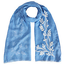 Buy White Stuff Prairie Embroidered Scarf, Blue Online at johnlewis.com