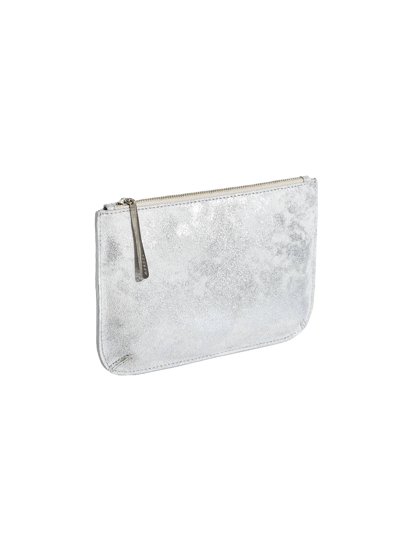 9d64733ed72 Buy Jigsaw Alba Medium Textured Leather Pouch, Silver Online at  johnlewis.com ...