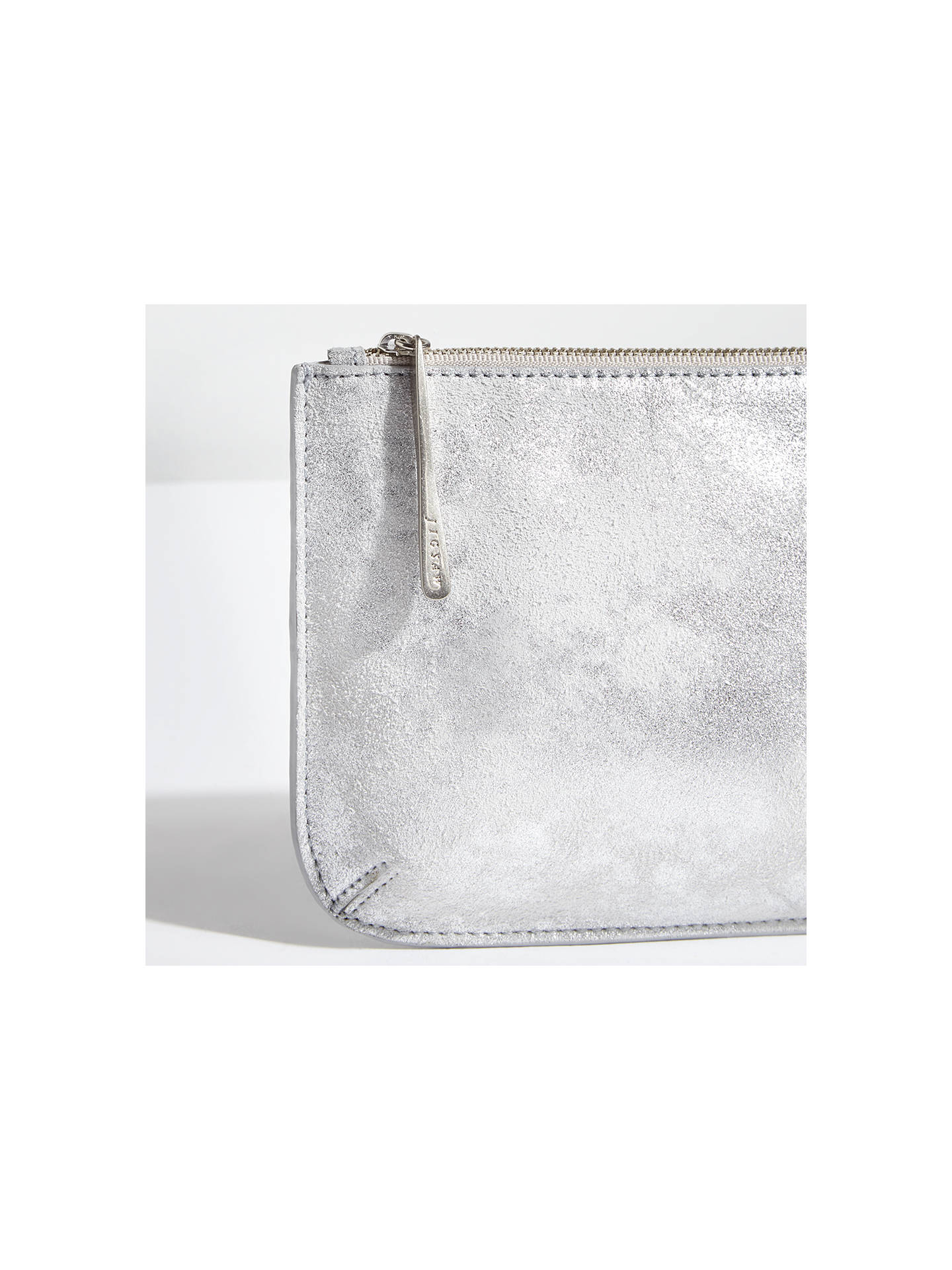 e6b36bdbf24 ... Buy Jigsaw Alba Medium Textured Leather Pouch, Silver Online at  johnlewis.com