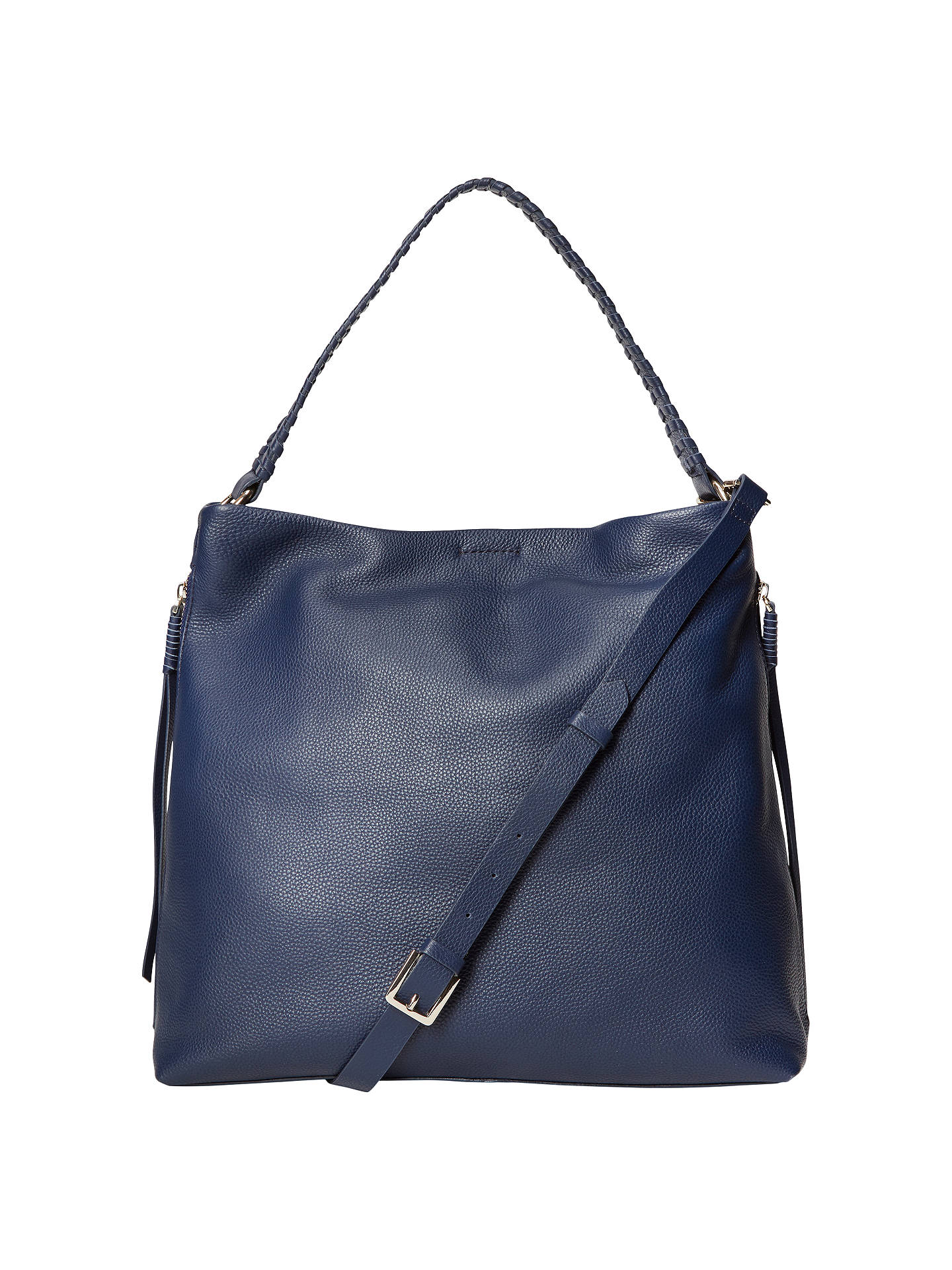 White Stuff Shea Leather Hobo Bag Navy Online At Johnlewis