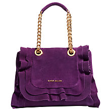 Buy Karen Millen Suede Frill Chain Bag, Purple Online at johnlewis.com