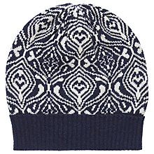 Buy Brora Cashmere Mosaic Beanie Hat, French Navy/Platinum Online at johnlewis.com