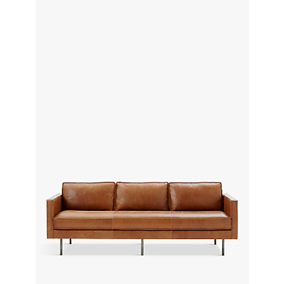 west elm Axel Large 3 Seater Sofa, Sienna Leather