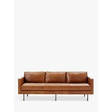 Buy West Elm Axel Large 3 Seater Sofa, Sienna Leather Online at johnlewis.com