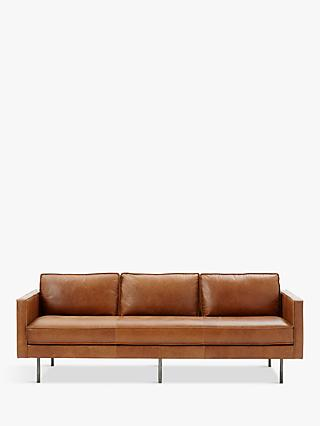 Axel Range, west elm Axel Large 3 Seater Leather Sofa, Sienna
