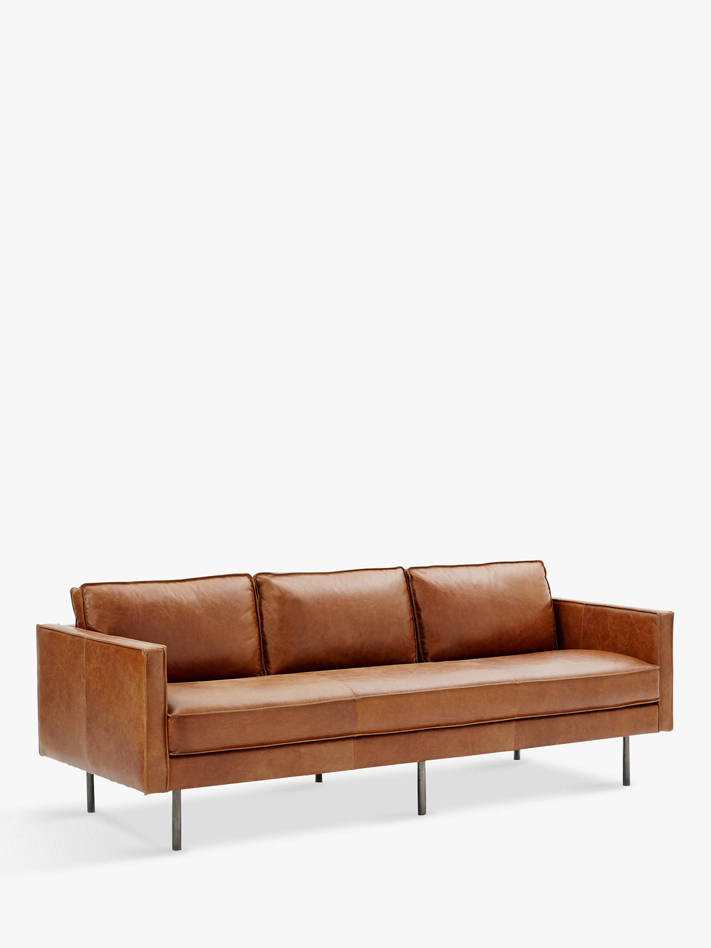 West Elm Axel Large 3 Seater Sofa Sienna Leather Online At Johnlewis