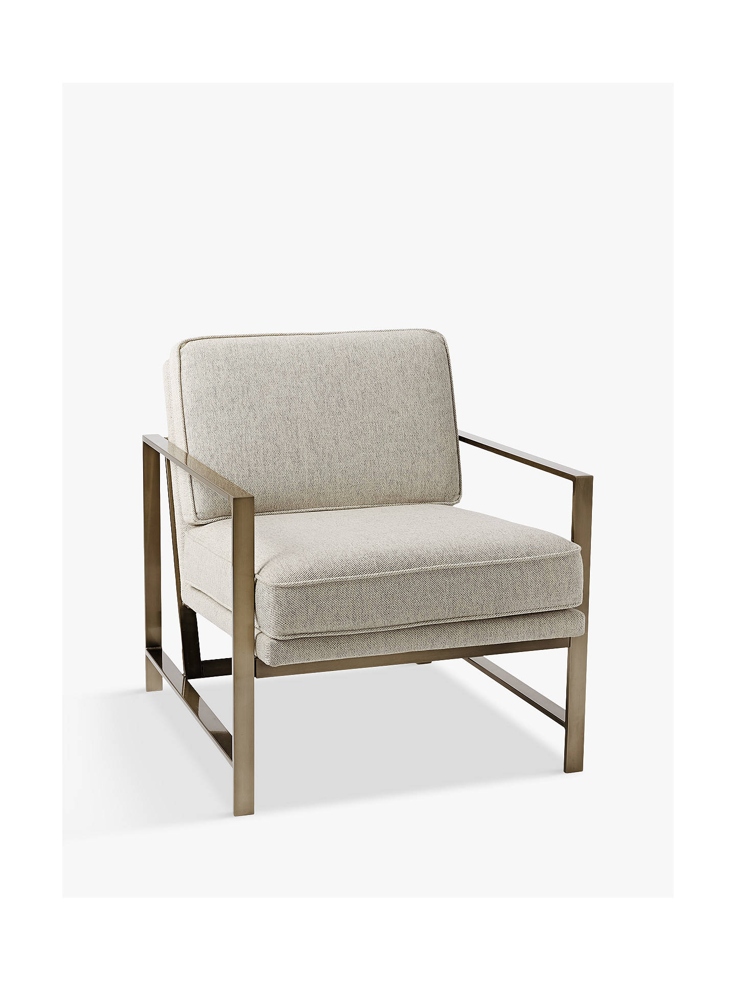 west elm Metal Frame Armchair, Twill at John Lewis & Partners