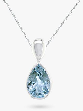 E.W Adams 9ct Gold Pear Pendant, Aquamarine/White Gold