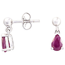 Buy A B Davis 9ct White Gold Pear Ruby Drop Earrings, Red Online at johnlewis.com