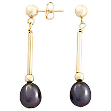 Buy A B Davis 9ct Yellow Gold Pearl Long Drop Earring, Gold/Black Online at johnlewis.com