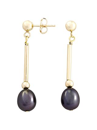 A B Davis 9ct Yellow Gold Pearl Long Drop Earring, Gold/Black