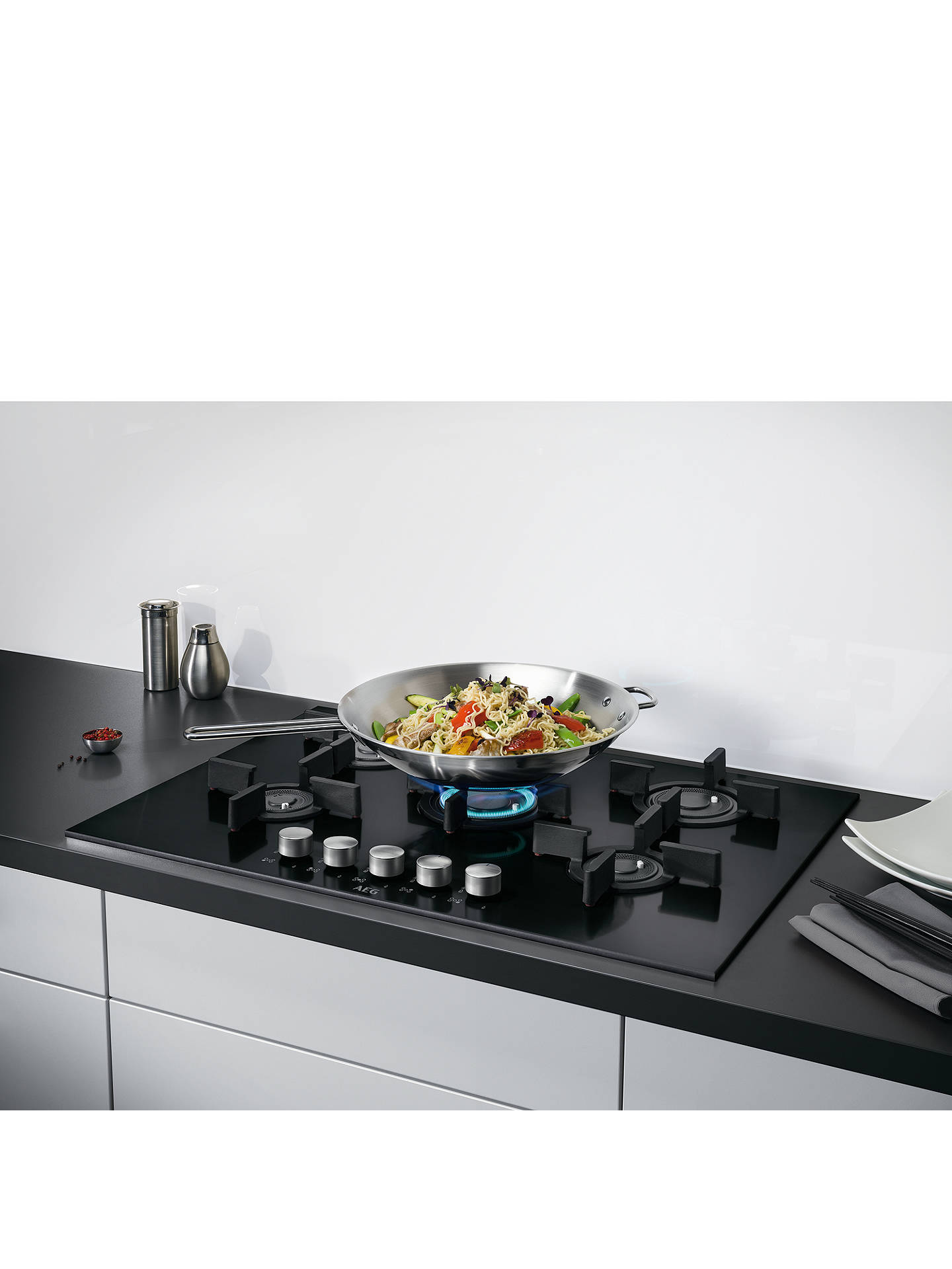 BuyAEG HG795840NB Integrated Gas Hob, Black Online at johnlewis.com