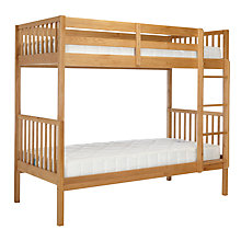 Buy John Lewis Morgan Story Time Bunk Bed with little home at John Lewis 15cm Deep Open Spring Water Resistant Mattresses, Single, Oak Online at johnlewis.com