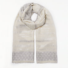 Buy John Lewis Metallic Broken Stripe Scarf, Cream/Silver Online at johnlewis.com
