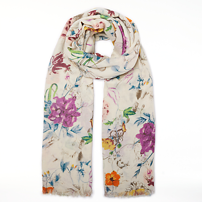 John Lewis Antique Floral Print Cotton Twill Scarf, Multi