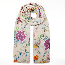 Buy John Lewis Antique Floral Print Cotton Twill Scarf, Multi Online at johnlewis.com