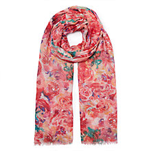 Buy John Lewis Painted Floral Motif Scarf, Red/Multi Online at johnlewis.com