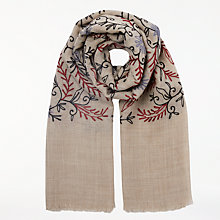 Buy John Lewis Embroidered Wool Scarf, Natural Mix Online at johnlewis.com