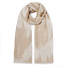 Buy John Lewis Slub Texture Broken Stripe Pattern Scarf, Beige Online at johnlewis.com