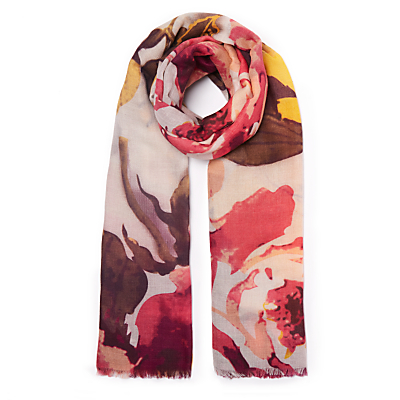 John Lewis Autumn Blossom Floral Print Wool and Silk Scarf, Claret Mix