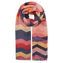 Buy John Lewis Chevron Print Wool and Silk Scarf, Coral/Multi Online at johnlewis.com