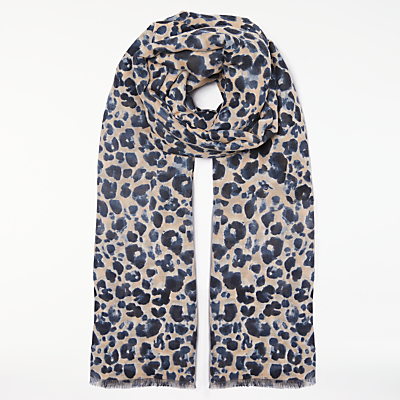 John Lewis Animal Motif Scarf, Navy Mix