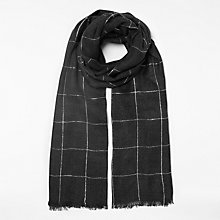Buy John Lewis Checkerboard Metallic Scarf, Charcoal/Silver Online at johnlewis.com