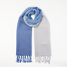 Buy John Lewis Wool Blend Dip Dye Fringe Scarf, Blue Iris/White Online at johnlewis.com