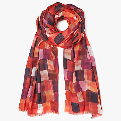 Kin by John Lewis Beautiful Squares Print Scarf, Red Mix