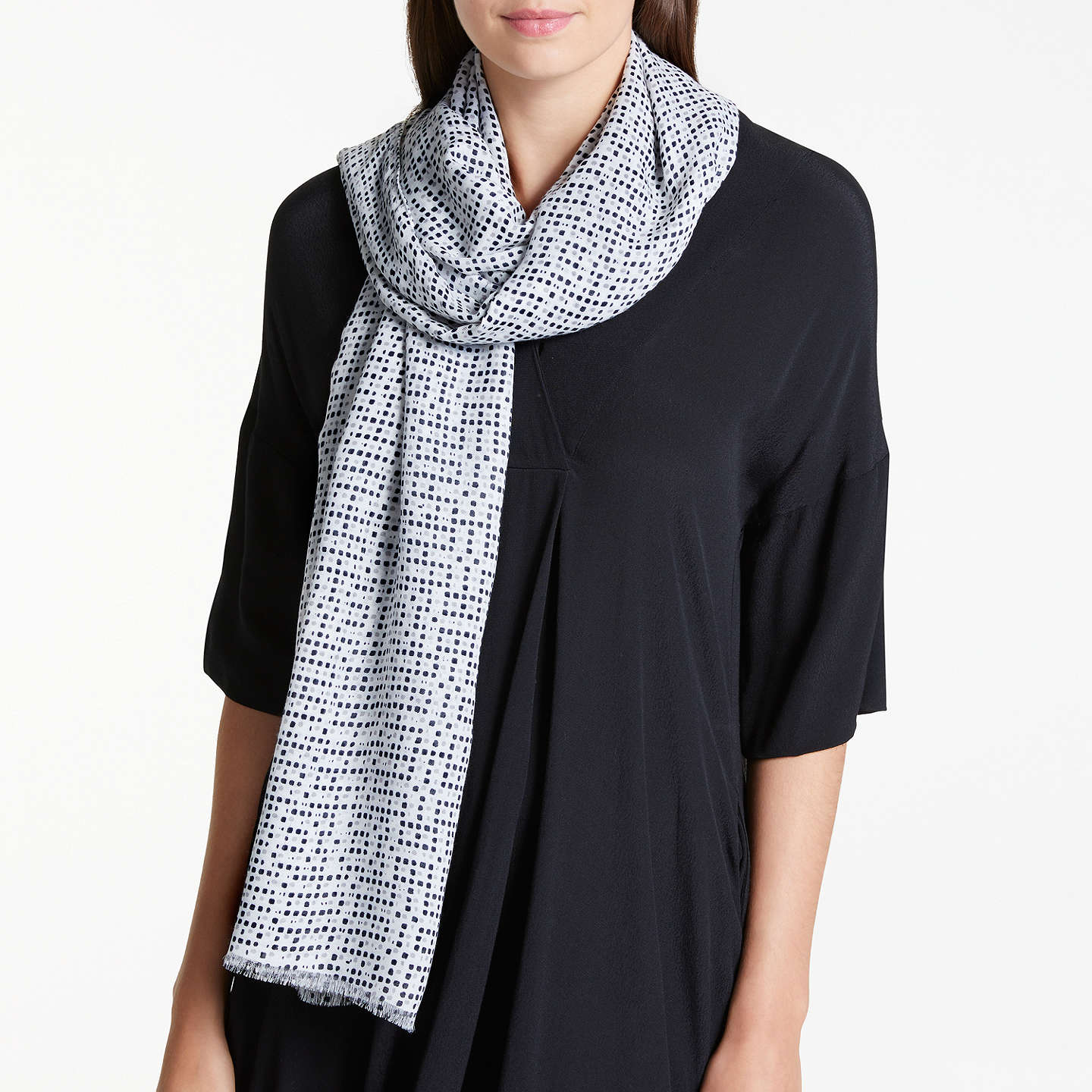 BuyJohn Lewis Square Dot Print Scarf, Black Mix Online at johnlewis.com