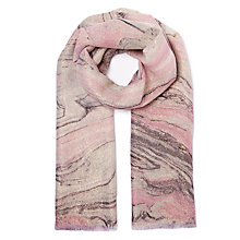 Buy John Lewis Hand Painted Lurex Marble Scarf, Pink Online at johnlewis.com