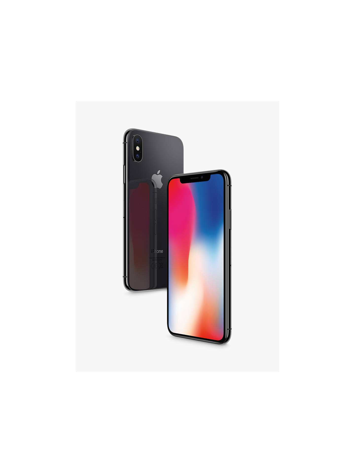 "BuyApple iPhone X, iOS 11, 5.8"", 4G LTE, SIM Free, 64GB, Space Grey Online at johnlewis.com"