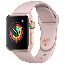 Buy Apple Watch Series 3, GPS, 38mm Gold Aluminium Case with Sport Band, Pink Sand Online at johnlewis.com