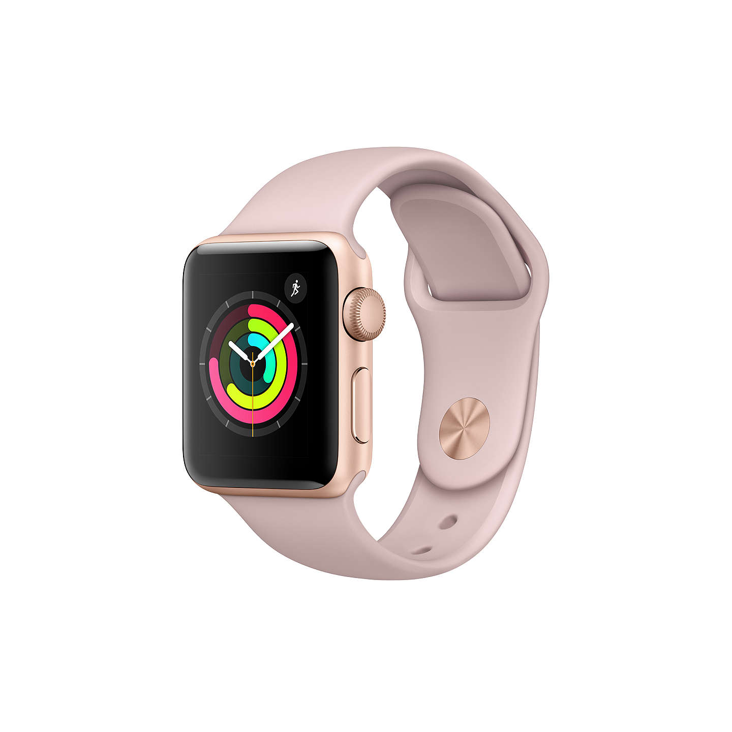 BuyApple Watch Series 3, GPS, 38mm Gold Aluminium Case with Sport Band, Pink Sand Online at johnlewis.com
