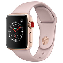 Buy Apple Watch Series 3, GPS and Cellular, 38mm Gold Aluminium Case with Sport Band, Pink Sand Online at johnlewis.com
