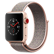 Buy Apple Watch Series 3, GPS and Cellular, 38mm Gold Aluminium Case with Sport Loop, Pink Sand Online at johnlewis.com