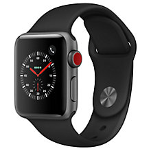 Buy Apple Watch Series 3, GPS and Cellular, 38mm Space Grey Aluminium Case with Sport Band, Black Online at johnlewis.com