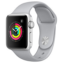 Buy Apple Watch Series 3, GPS, 38mm Silver Aluminium Case with Sport Band, Fog Online at johnlewis.com