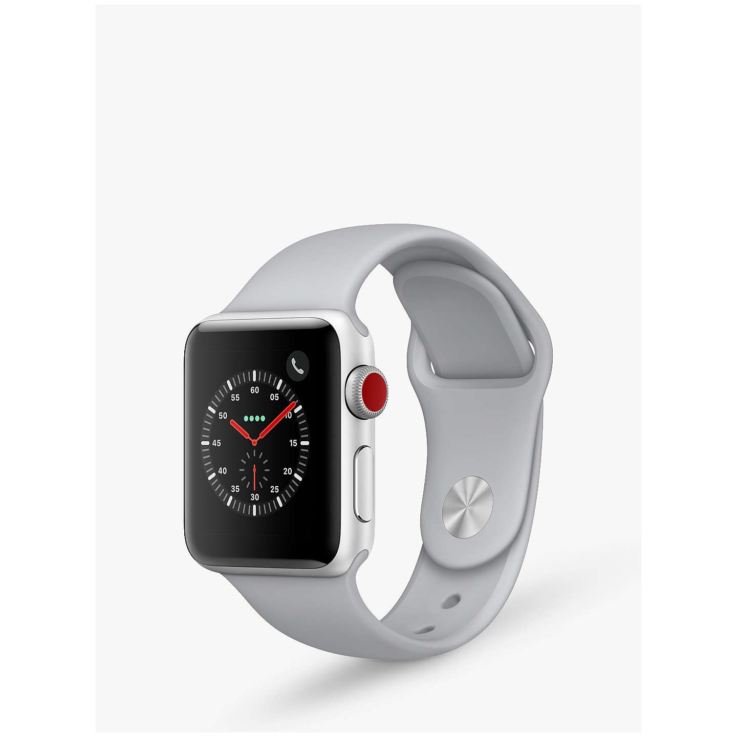 BuyApple Watch Series 3, GPS and Cellular, 38mm Silver Aluminium Case with Sport Band, Fog Online at johnlewis.com
